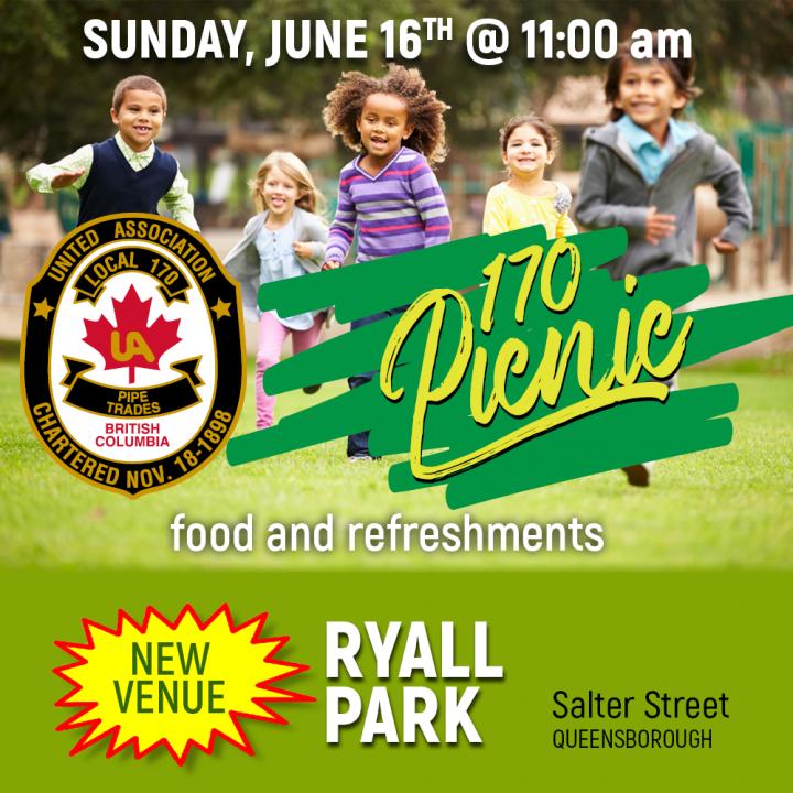 Local 170 Annual Picnic Sunday June 16, 2019 – 11:00 am