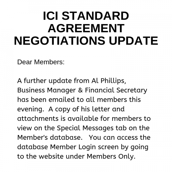 ICI Standard Agreement Negotiations Update