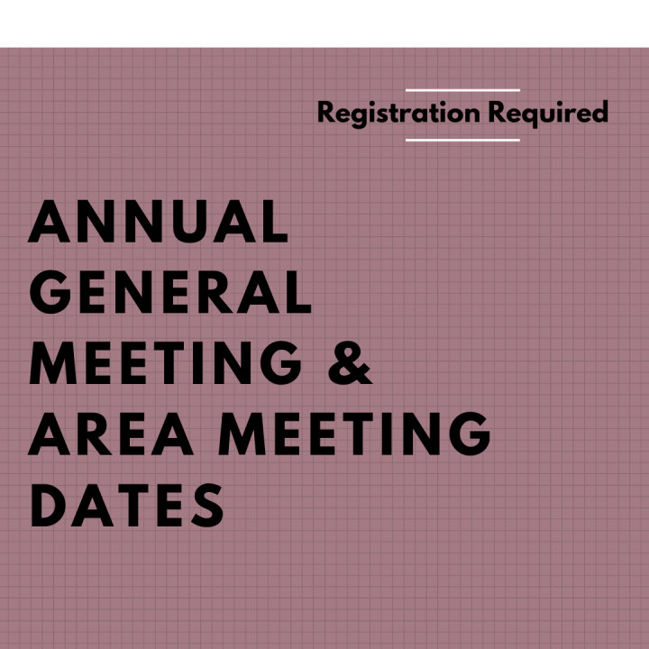 Annual General Meeting & Area Meeting Dates