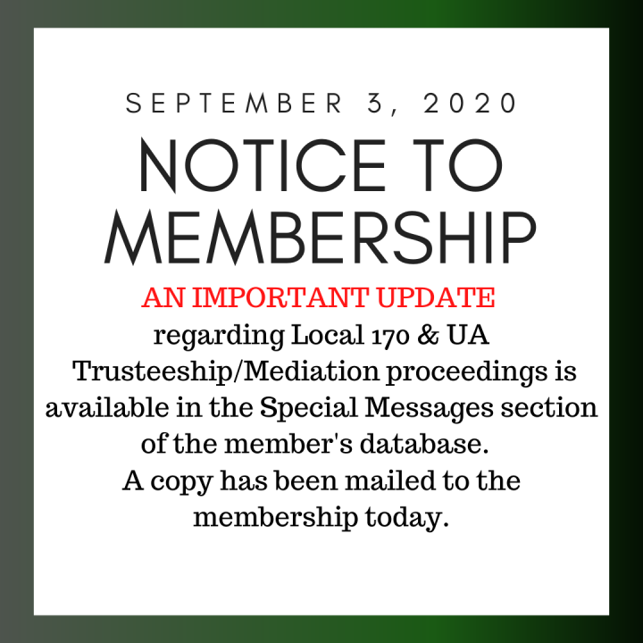 Notice to Membership