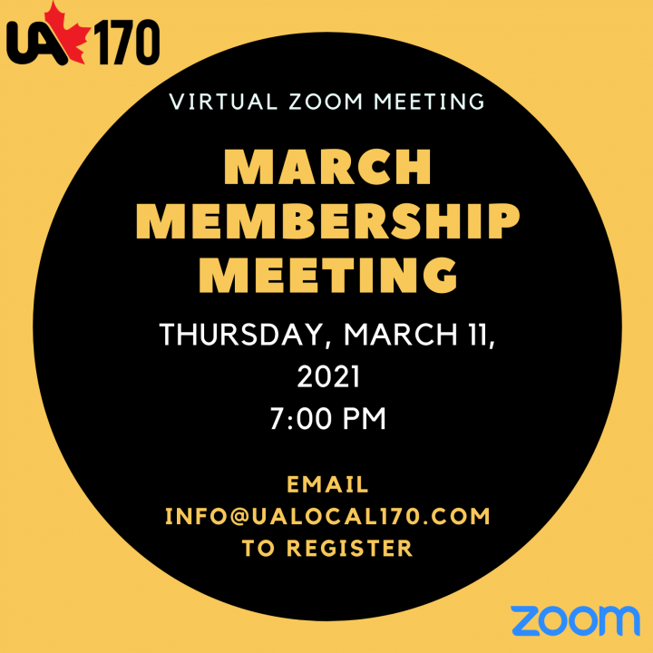 MARCH 2021 MEMBERSHIP MEETING – THURSDAY MARCH 11, 2021 – 7:00 PM