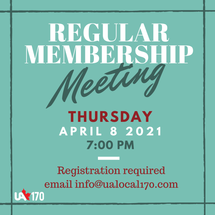 Membership Meeting – April 8, 2021 – 7:00 pm
