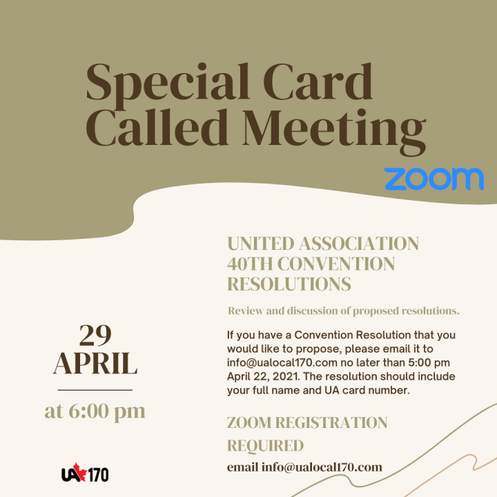 Special Card Called Meeting