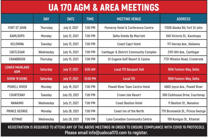 AGM & Area Meetings Schedule